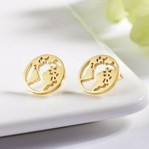 3/$20 Gold Hollow World Map Stud Earrings